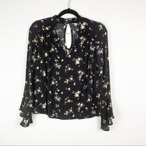 American Eagle Floral Bell Sleeve Choker Neck Top